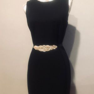 Gorgeous crystal/gold sash/belt w/ black ribbon